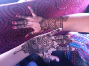 Henna Tattoos for Zaara by a man on the side of the street in Dadar after a visit to the tailors to be fitted for wedding outfits.