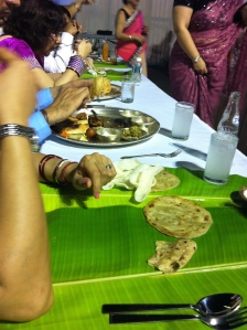 Veg Thali and non veg banana leaf meal